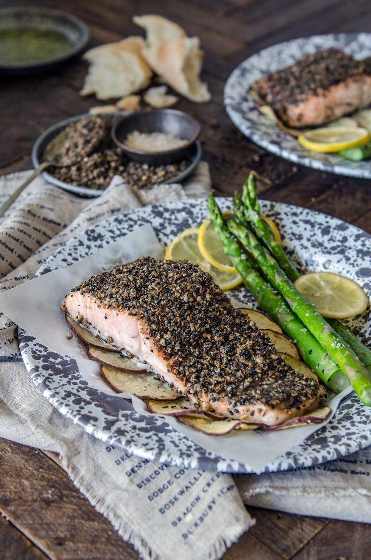 5 Ingredient Baked Dukkah Salmon Sheet Pan Meal | Chew Town Food Blog