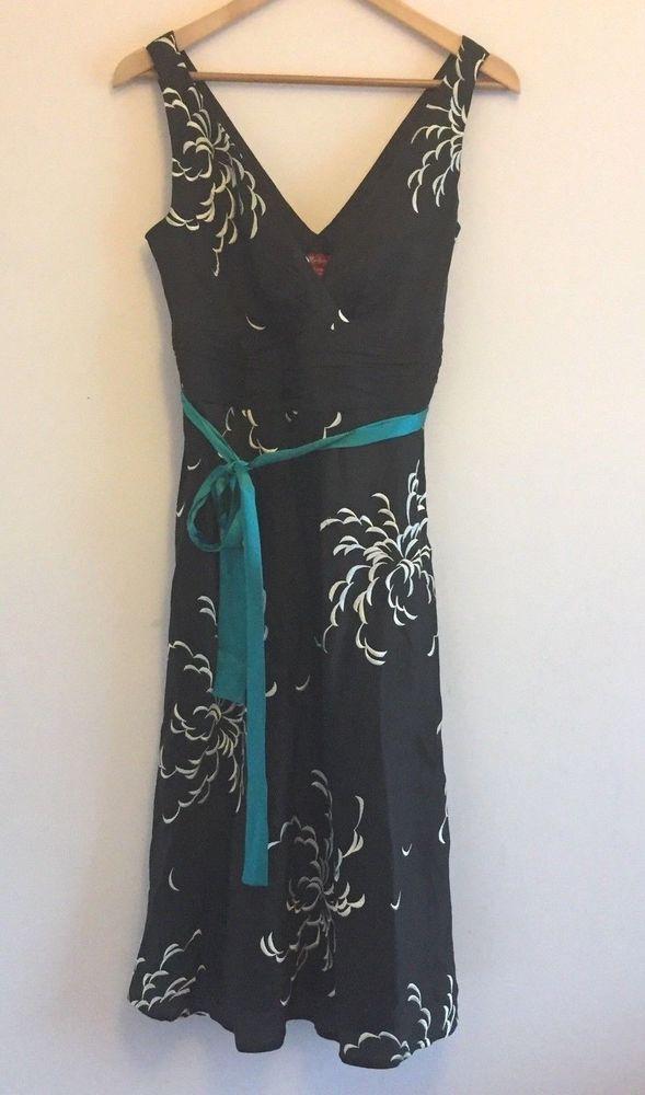 Monsoon Linen Silk Sz 12 Black Pattern Dress Teal Belt