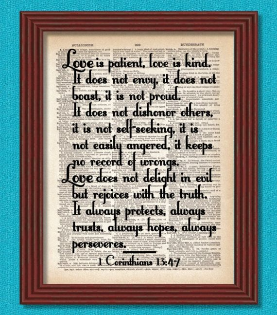 Love Is Patient Dictionary Art Print 1 Corinthians Faith Wedding Marriage Vows Bible Christian Catholic Literary Quote Decor Book