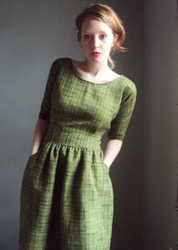 For those days when Spring needs remembering. This stunning dress is constructed from incredible cotton boucle in green, tan, and brown.
