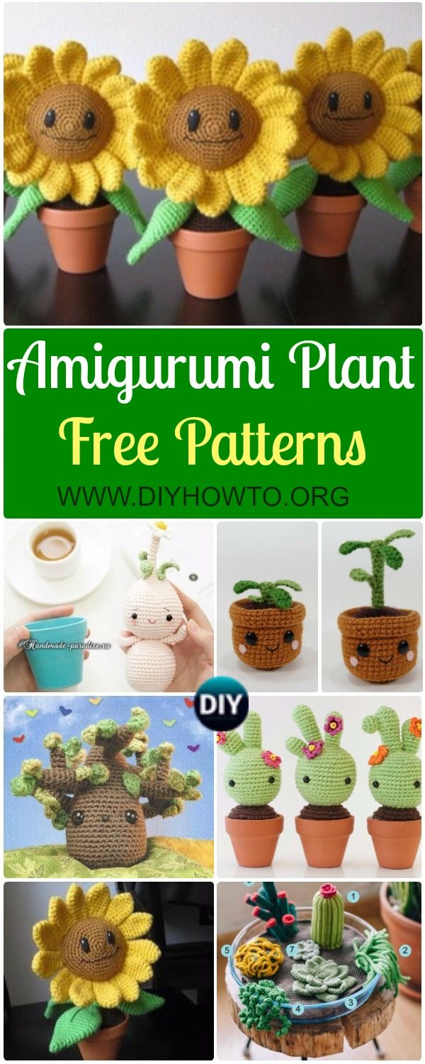 Collection of crochet Amirigumi plant softies and home decoration. crochet cactus, crochet sunflower baby, crochet groot and more via @diyhowto
