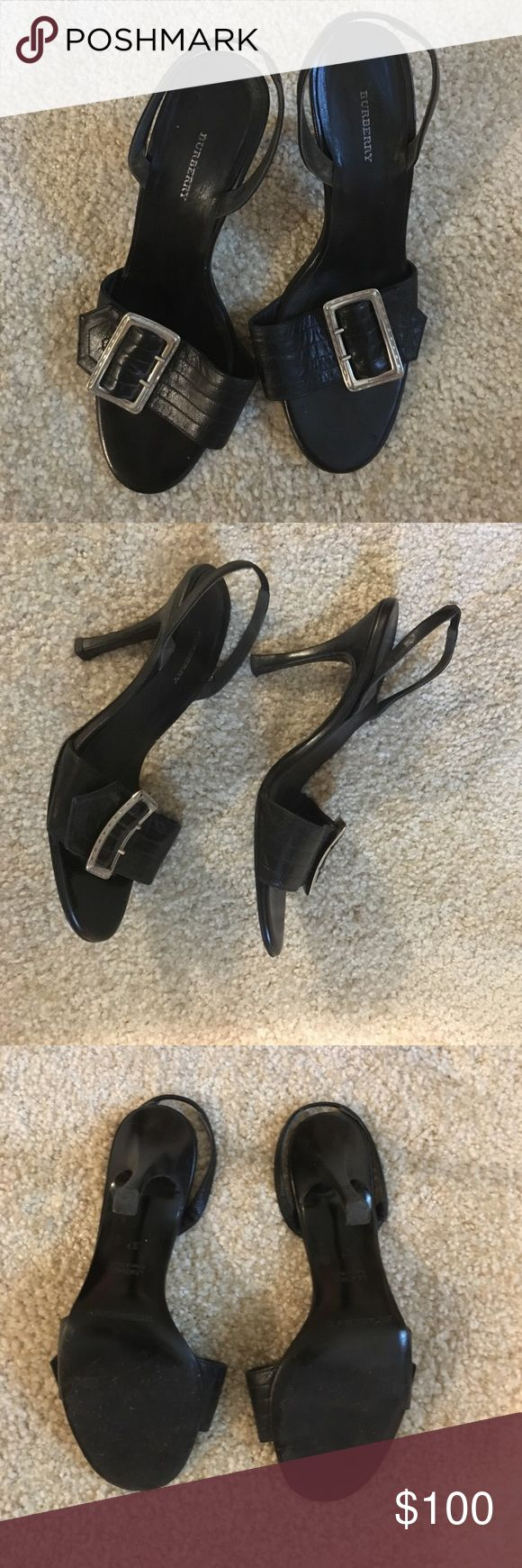 Burberry Black Slingback Sandal Heels, size 37 Burberry Black Slingback Sandal Heels with big silver buckle, size 37 Burberry Shoes Heels