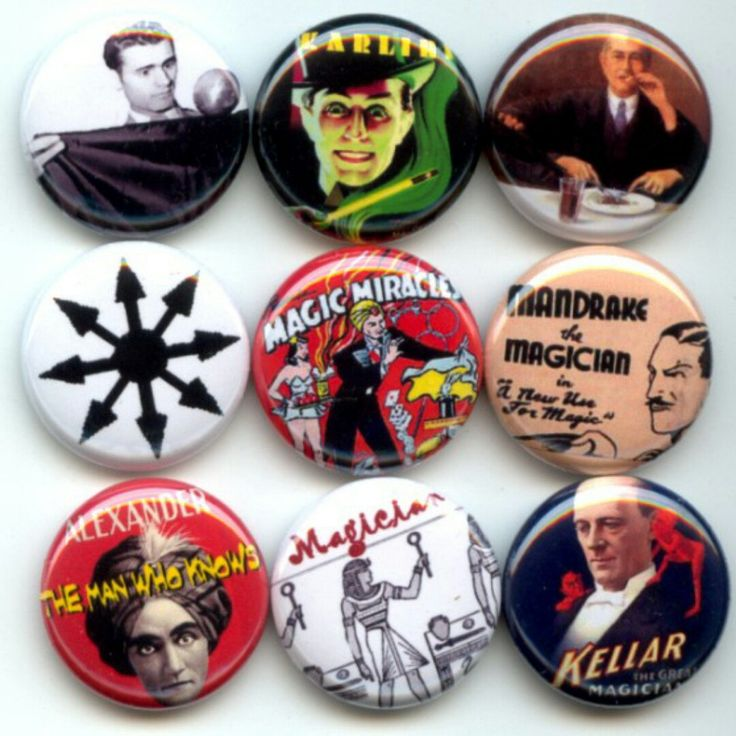 Magician Magic Art of Illusion..  Pinback button set by Yesware11 on Etsy!