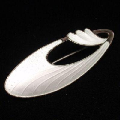 White Enamel Pin Vintage Sterling Silver Vermeil Brooch Norway Finn Jensen