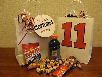 Baseball Goodie Bags and secret to keeping white baseball pants clean! - Perfect for Devin's b'day this summer