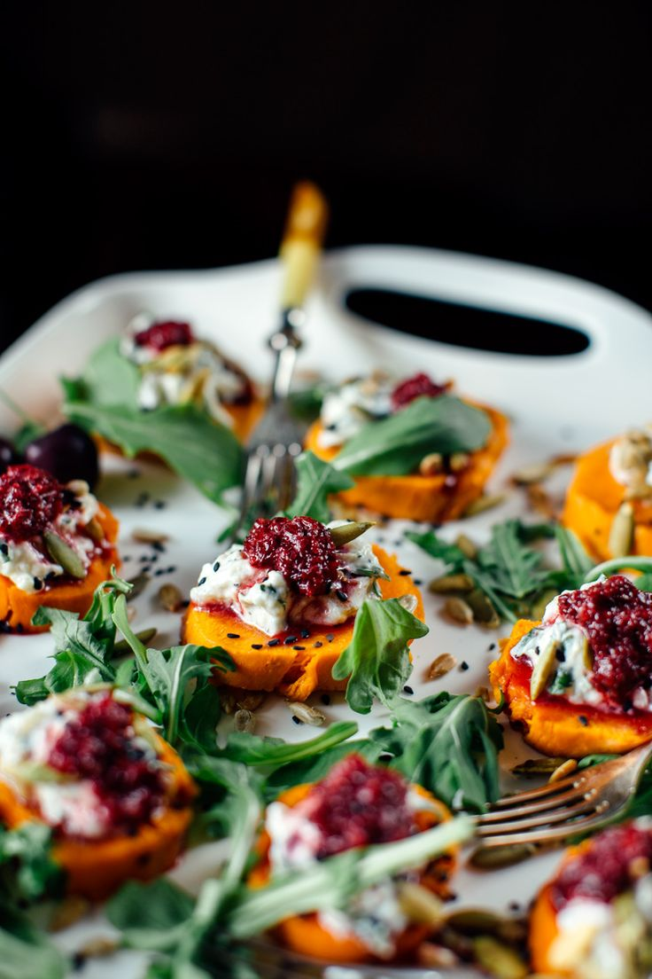 Roasted Sweet Potato with Smokey Eggplant Dip + Cherry Chutney | Earthy Feast