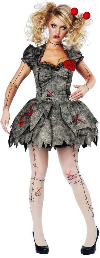 Creepy Pins & Needles Voodoo Outfit Halloween Rag Doll Costume Adult Women #CaliforniaCostumeCollection
