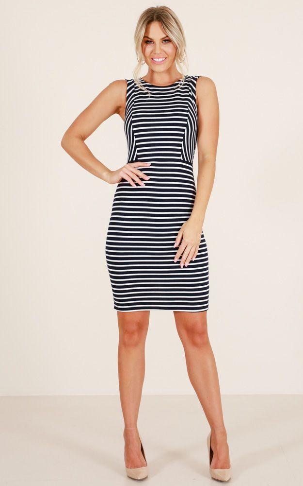 Light The Night dress in navy stripe Produced By SHOWPO