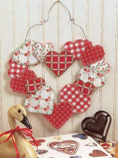 Heart of Hearts Cross-stitch Wreath Pattern