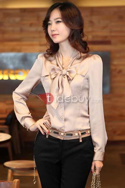 ファッションな韓国スタイルロングスリーブリボン付きブラウス