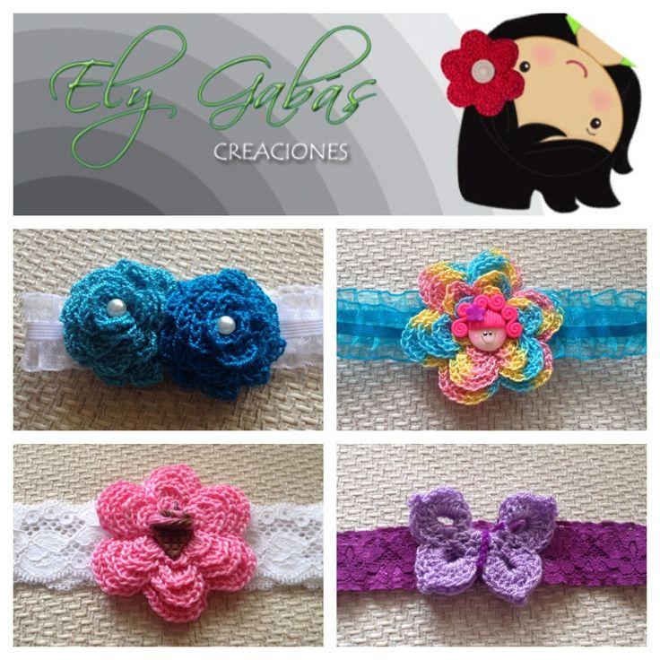 Cintillos con aplicaciones tejidas mis creaciones en - Aplicaciones en crochet ...