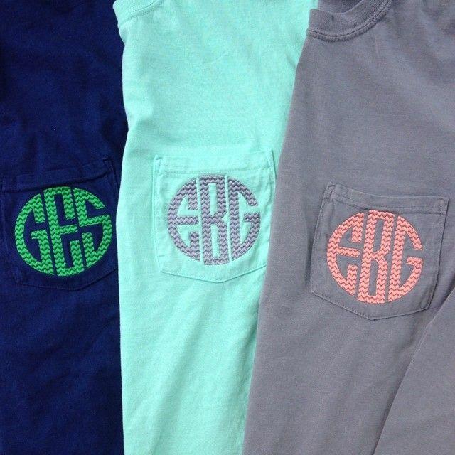 Monogrammed Long Sleeve Comfort Colors Pocket Tee Shirt