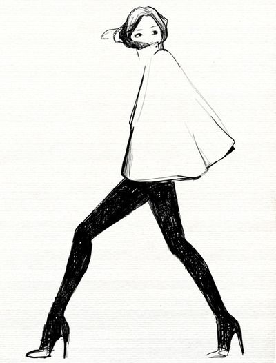 Love the simplicity of the French inspired illustration. Very chic cape.