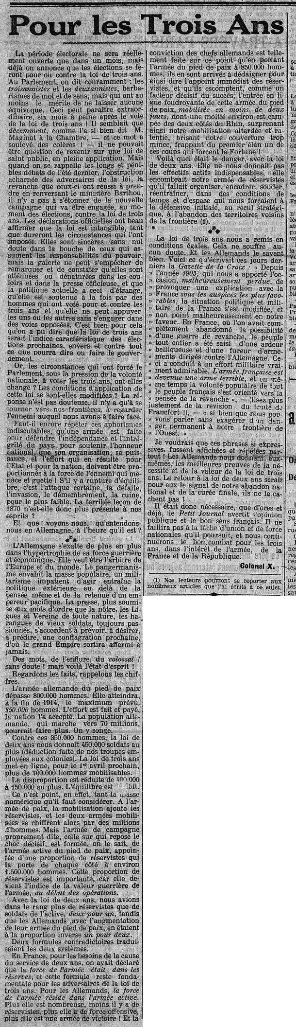 Généalogie - 10 mars 1914 : arguments en faveur des trois ans de service militaire - Frawsy