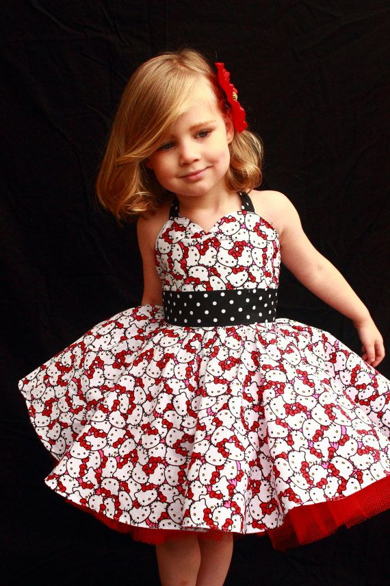 Rockabilly Hello Kitty Dress by DarlingInDisguise on Etsy, $40.00. too cute!!! Alayna would looooove.