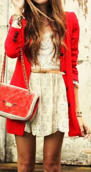 Red long trench coat, lace skirt, handbag and belt style