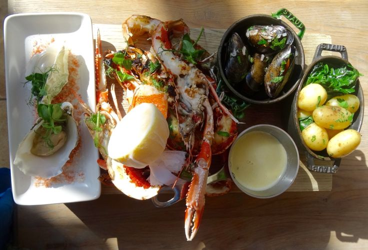 Delicious shellfish sharing platter with lobster, langoustines, mussels and oysters at The Conservatory Restaurant. http://www.calcotmanor.co.uk/