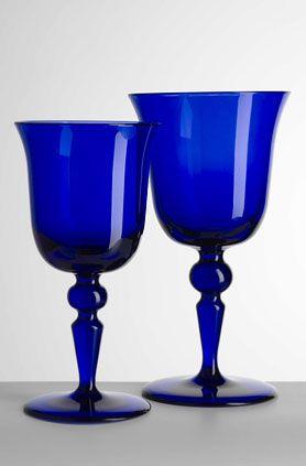 Mario Luca Giusti Royal Blue St. Mortiz Water And Wine Glasses