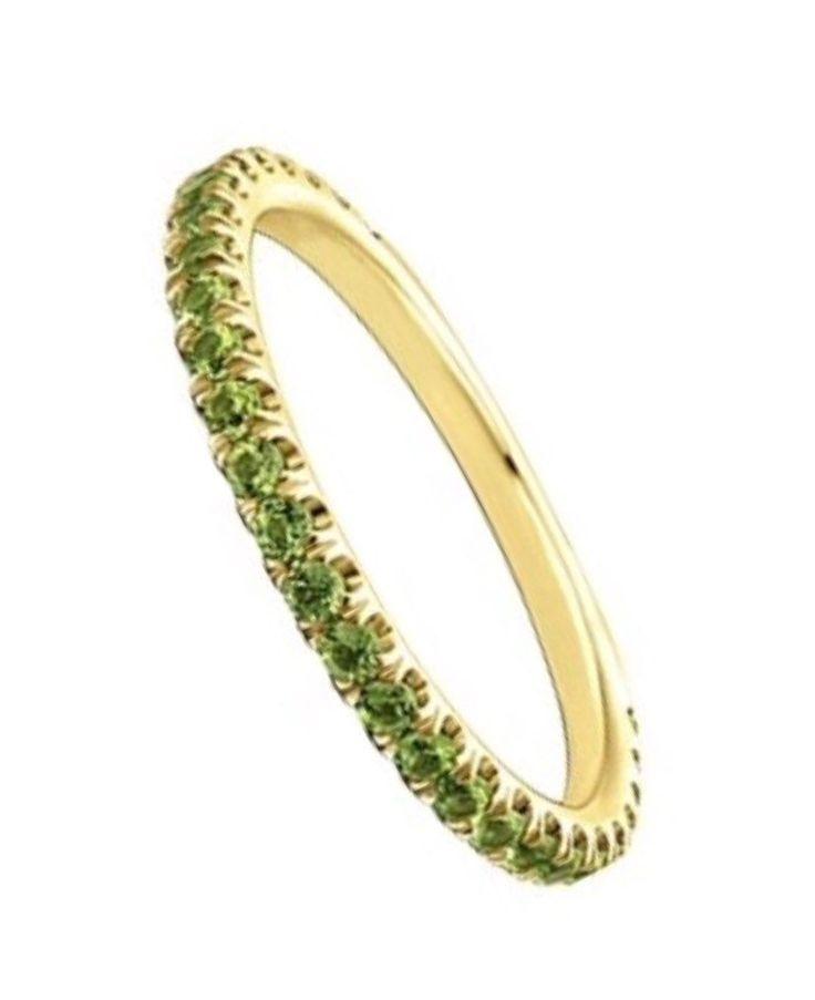 14K Peridot Full Eternity Band 1.8mm 14K Peridot Matching Eternity Ring 14K Pave Peridot Infinity Ring 14K Green Birthstone Stacking Ring by SARRIEL on Etsy