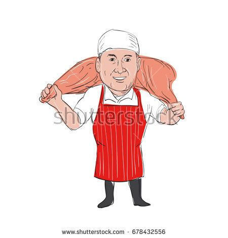 Illustration of a Butcher Carrying Leg of Ham on shoulder front view done in hand drawn sketch Cartoon style.  #butcher #cartoon #illustration