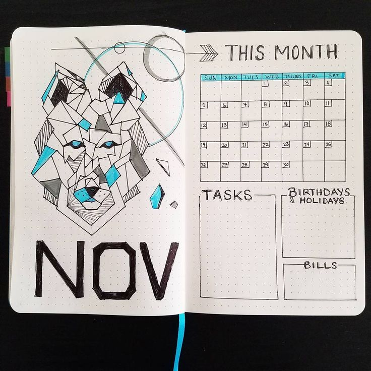 """Timid Bujo (@timid.bujo) on Instagram: """"NOVEMBER   Monthly ; hello! My Nov theme is going to be... geometric animals! What do u think? …"""""""