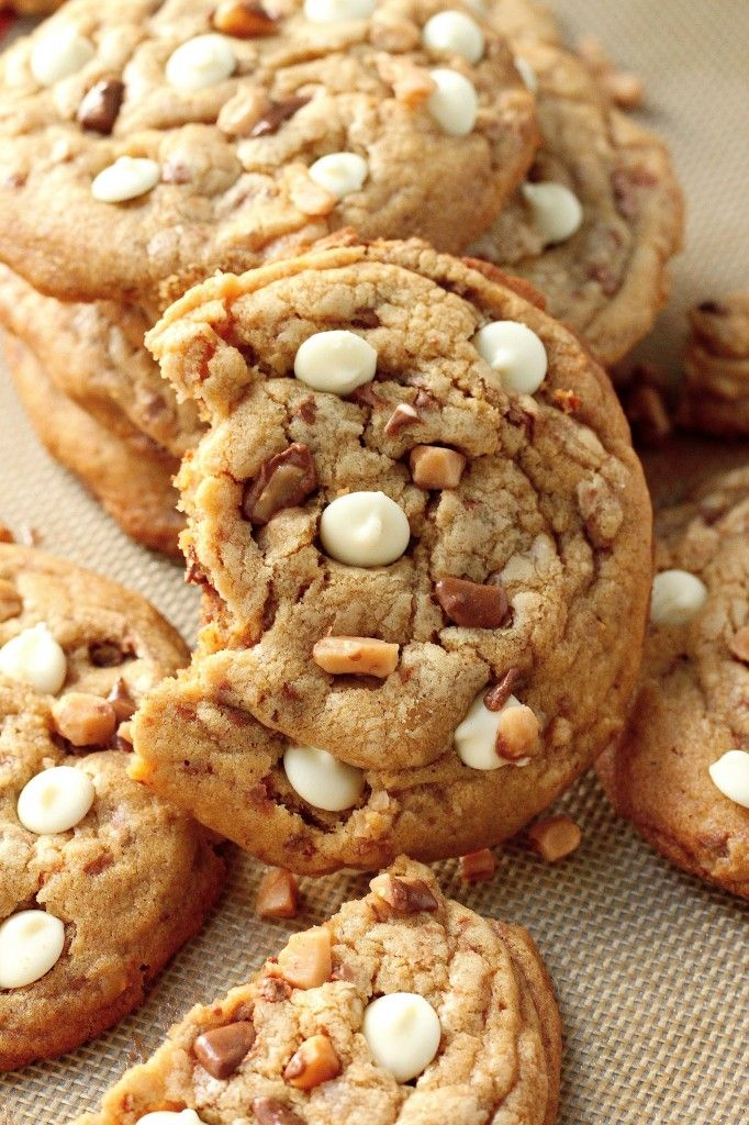 White Chocolate Toffee Brown Butter Cookies Recipe ~ Giant thick and chewy brown butter cookies are stuffed with milk chocolate toffee and white chocolate chips! They only take a few minutes to assemble, and don't have to be refrigerated before baking