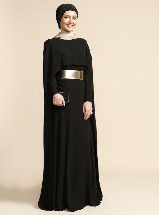 Pelerinli Elbise - Siyah - Puane