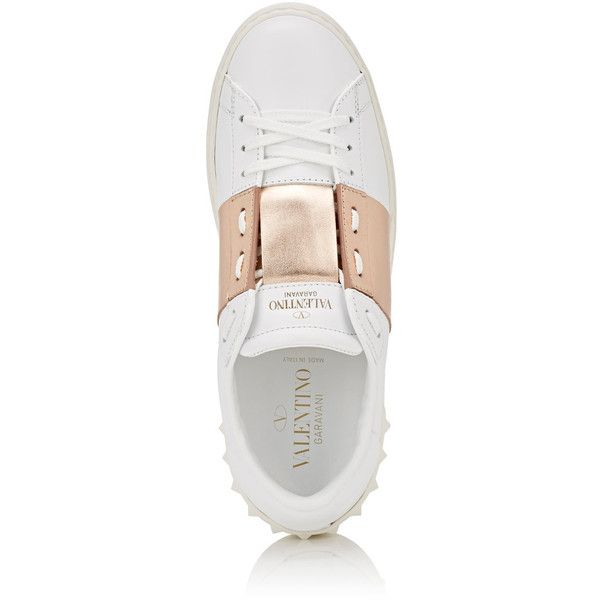"""Valentino Garavani Women's \""""Open\"""" Leather Sneakers ($695) ❤ liked on Polyvore featuring shoes, sneakers, lace up shoes, rose gold metallic shoes, valentino trainers, wide sneakers and wide width shoes"""