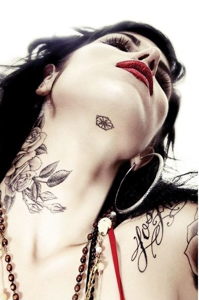 LOVE this tattoo location on the neck under the chin ...