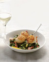Seared Scallops with Bacon-Braised Chard Recipe on Food & Wine  **NOTE: Tried this recipe for dinner this week and it was great. Scallops turned out well, and i used half chard and half kale.