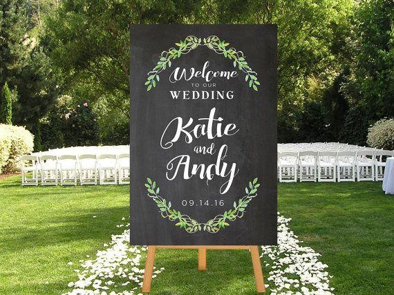 Bruiloft welkom teken afdrukbare schoolbord teken door P27Creative