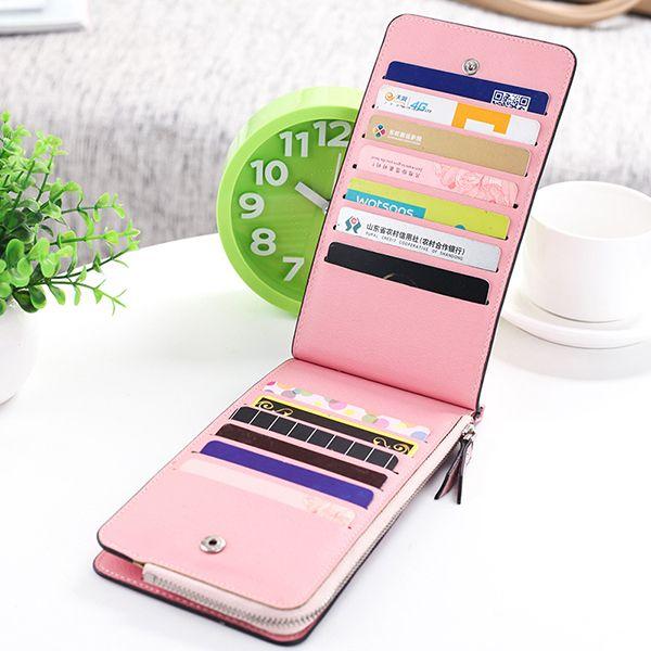 Women Microfiber Leather Multi-Card Slots Wallet Card Holders Phone Bag
