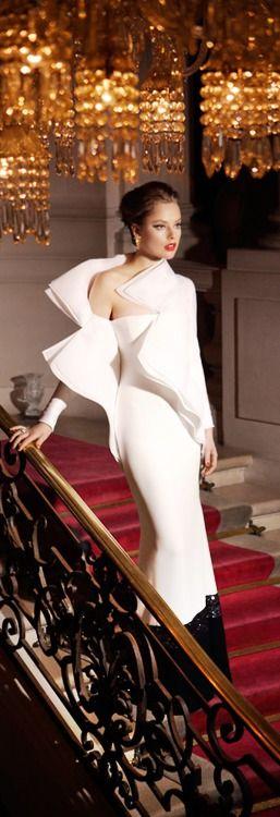 Mario Sierra ~ Glamorous Evening Gown, White, 2015
