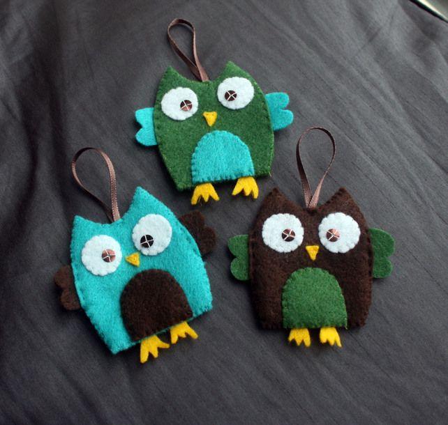 Felt Owl Christmas Decorations (set 3)