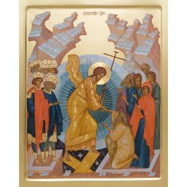 A handpainted icon of Resurrection of Christ In Orthodox Christian Tradition, the icon of Resurrection of Christ depicts His descent into hell in order to save people from sin and death. The gates have been broken on which Christ stands in all His Glory. Adam, Eve, Kings David and Solomon as well as St. John the Baptist surround Him on both sides. The Savior is holding Adam by the hand, since only God can save people from sin. At the same time the person needs to make an effort, which is…