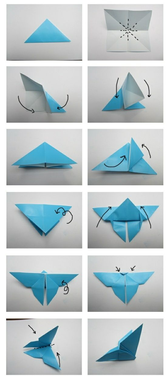 Origami Falten-Bastelanleitung Schmetterling
