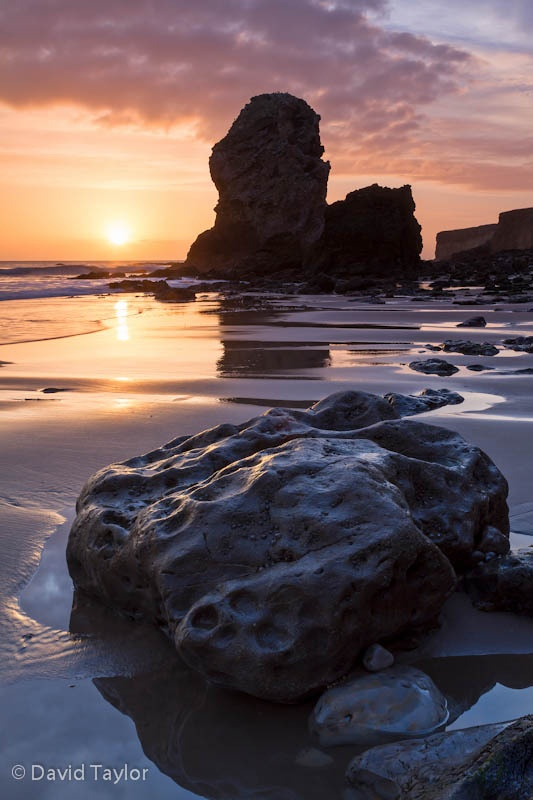 Periclase and Magnesian Limestone sea stack in Marsden Bay near South Shields and Whitburn, South Tyneside, England David Taylor Photography.   http://www.my-photo-school.com/course/beginners-guide-to-digital-photography/