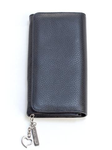 Women's Luxury Italian Handmade Wallet-Black Leather. 100% Handmade in Italy from vegetable dyed Italian leather