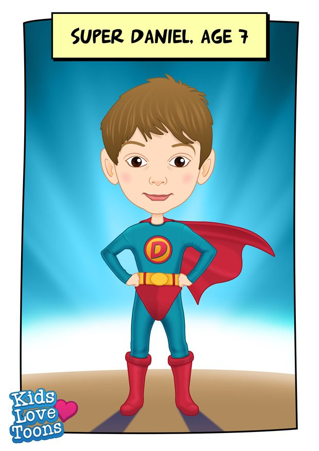 A custom made portrait of Daniel. We've added text here to make the cartoon portrait more memorable, £38 - check out our Etsy store https://www.etsy.com/uk/listing/186212286/custom-kids-portrait-superhero-cartoon?ref=listing-shop-header-0