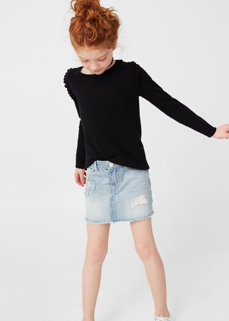 Ruffled cotton sweater | MANGO KIDS