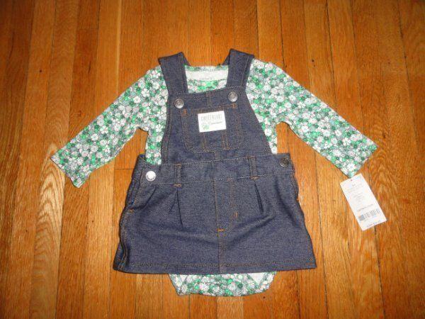 NWTS Girls 3 months Dress CARTERS jumper SET green FLORAL St Patricks Day #Carters #DressyEverydayHoliday