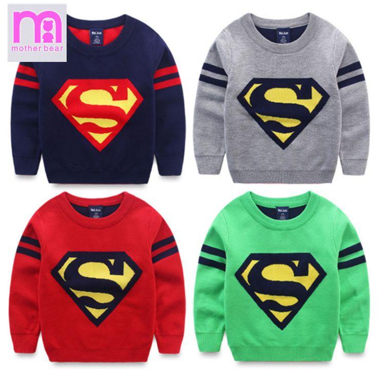 Goedkope Nieuwe Komen Baby Jongens Truien Herfst Winter Mode Kniteed Katoen 3 8 Jaar Kinderen Trui Superman Patroon Kids Pullovers,…