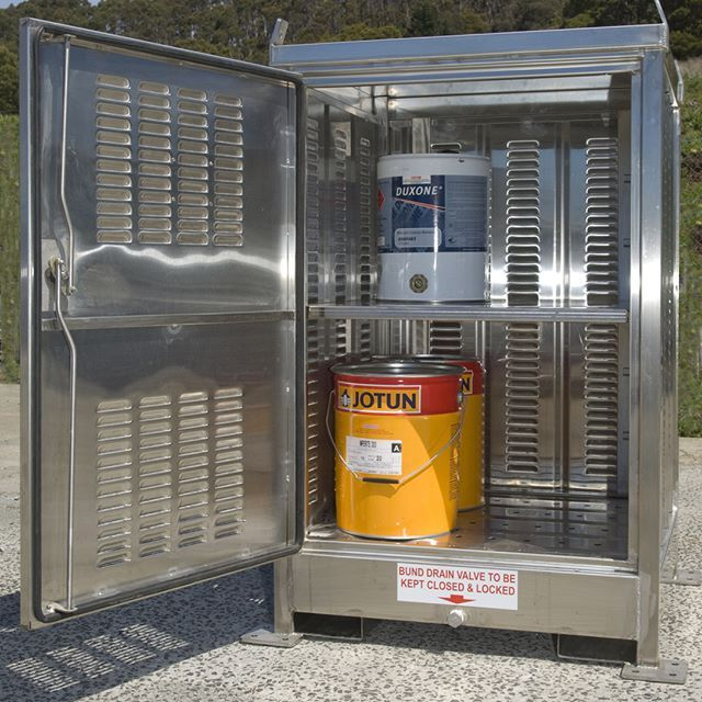 #stainlesssteel relocatable dangerous goods store engineered and manufactured by #STOREMASTA Australia.