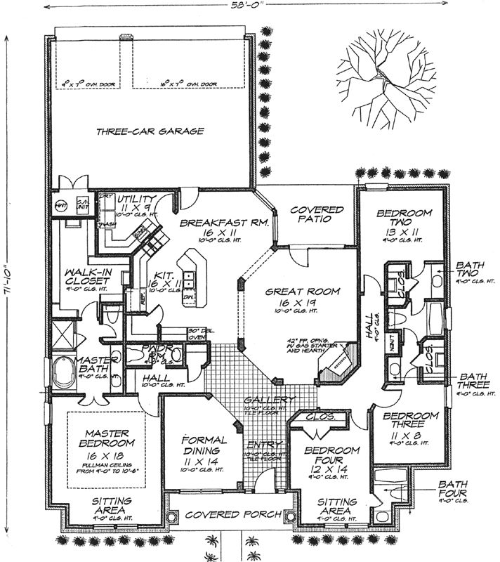 Bungalow Style House Plans - 2610 Square Foot Home, 1 Story, 4 Bedroom and 3 3 Bath, 3 Garage Stalls by Monster House Plans - Plan 8-1185
