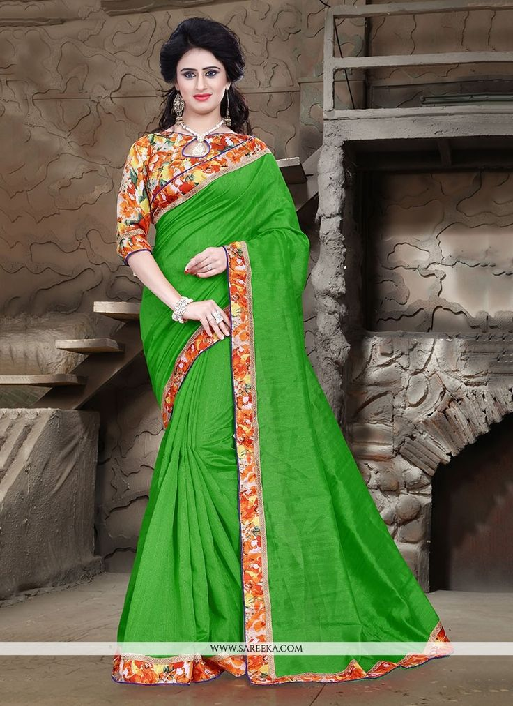 Aspiring to make a mark in the world of style. Here is the attire to breath life into your aspirations. Be the sunshine of everyone's eyes dressed in this beautiful green bhagalpuri silk printed sar...