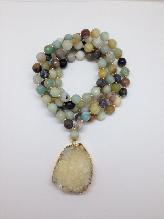 Long Mixed Agate Beaded Necklace with Large Neutral Crystal Druzy Pendant by Goldenstrand Jewelry