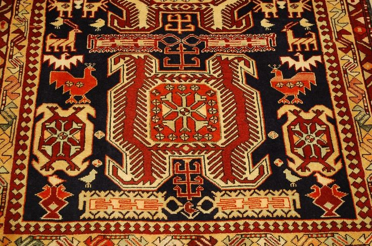 """Circa 1930's ANTIQUE HIGHLY DETAILED CAUCASIAN LANKORAN KAZAK DESIGN WITH ANIMAL SUBJECTS FINE CAUCASIAN RUG. with an exact size of 3' 10"""" x 9' 7"""". Wonderful Royal Blue background with many subjects.   eBay!"""