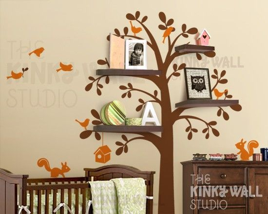 so cute!: Ideas, Nurseries, Tree Shelf, Wall Decals, Shelves, Trees Decals, Wall Stickers, Baby Rooms, Kids Rooms