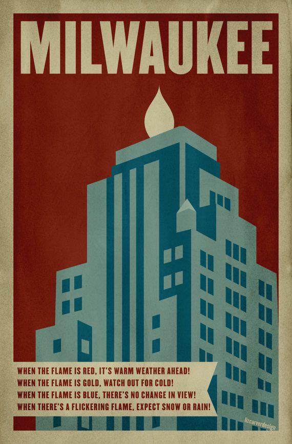 Milwaukee Gas Light Building Retro Poster Print, via Etsy. Design: Liz Carver