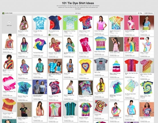"""Check out our new Pinterest board """"101 Tie Dye T-shirt Ideas"""" for lots of awesome tie dye shirt inspiration!"""